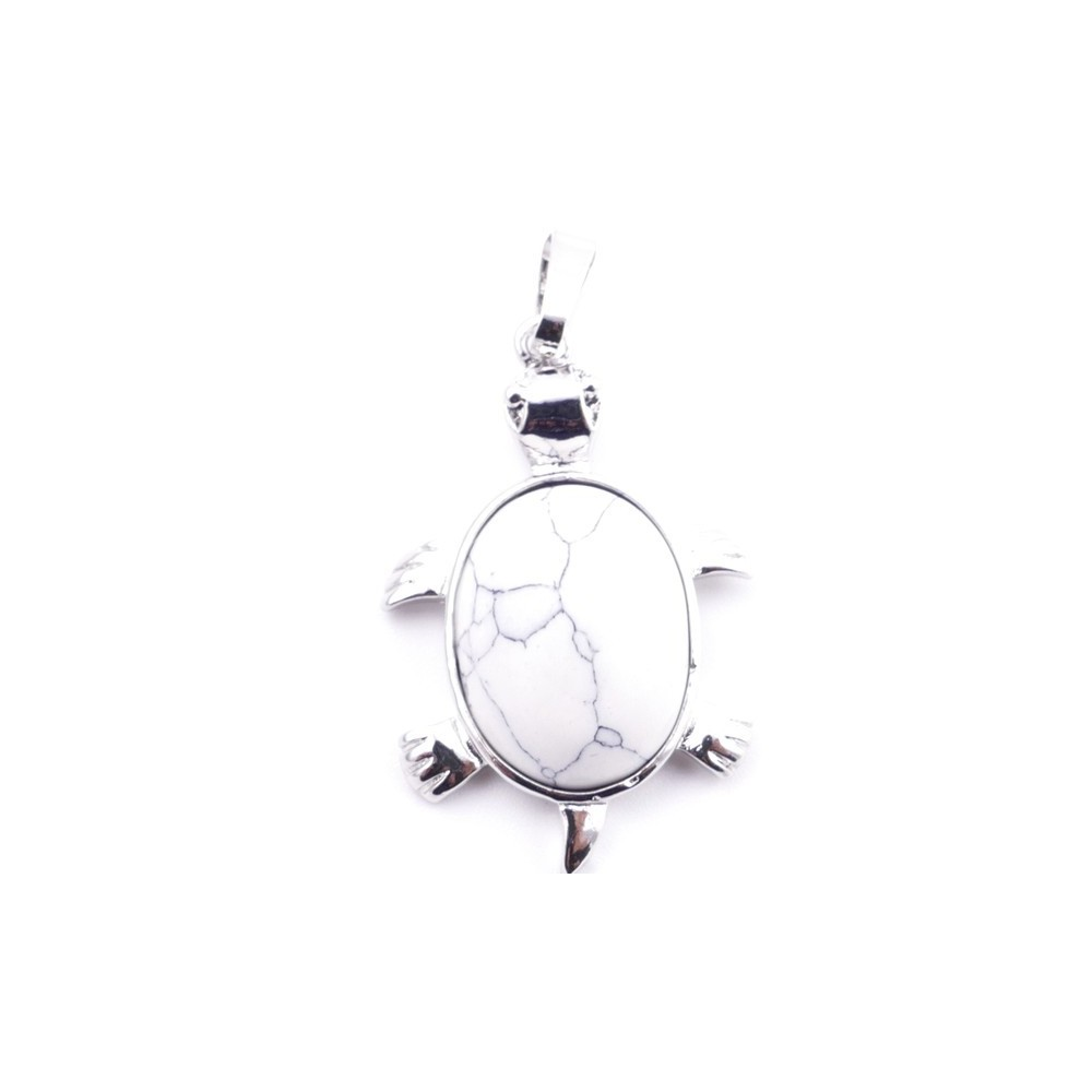 38109-14 TURTLE SHAPED 34 X 22 MM METAL PENDANT WITH STONE IN HOWLITE