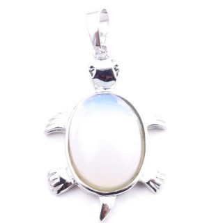 38109-08 TURTLE SHAPED 34 X 22 MM METAL PENDANT WITH STONE IN OPALINE