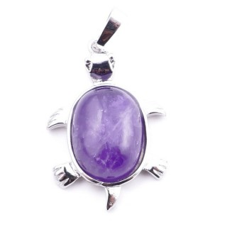 38109-05 TURTLE SHAPED 34 X 22 MM METAL PENDANT WITH STONE IN AMETHYST
