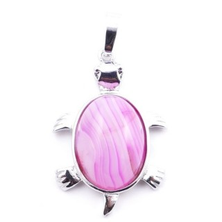 38109-29 TURTLE SHAPED 34 X 22 MM METAL PENDANT WITH STONE IN AGATE
