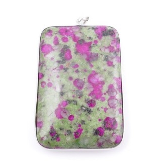 38274-09 METAL & RUBY IN FUCHSITE STONE PENDANT. APPROXIMATE SIZE: 62 X 42 MM