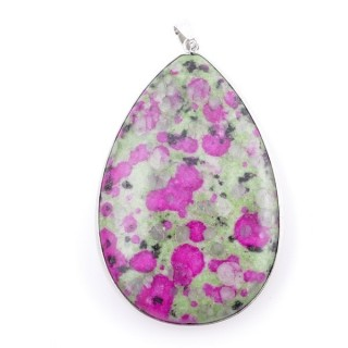 38274-10 METAL & RUBY IN FUCHSITE STONE PENDANT. APPROXIMATE SIZE: 61 X 41 MM