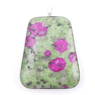 38274-11 METAL & RUBY IN FUCHSITE STONE PENDANT. APPROXIMATE SIZE: 56 X 46 MM
