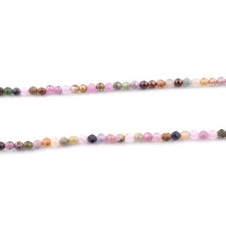 44063 40 CM STRING OF 3 MM FACETED TOURMALINE BEADS