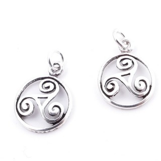 28922 PACK OF 2 STERLING SILVER 12 MM TRISQUEL PENDANTS