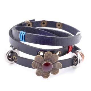 26119-01 SYNTHETIC LEATHER  WRAPAROUND BRACELET WITH METAL RIVETS