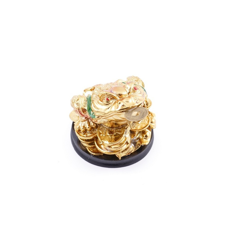 38286 RESIN FENG SHUI FROG WITH WOODEN BASE 4 X 7 X 8 CM