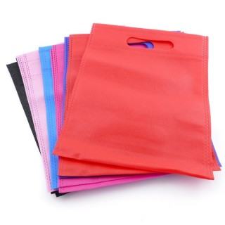 38344-01 PACK OF 12 NON WOVEN 20 X 25 CM BAGS IN ASSORTED COLOURS