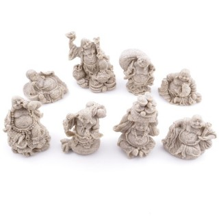 28124-00 SET OF 8 RESIN LAUGHING BUDDHA OF APROX. 4-7 CM