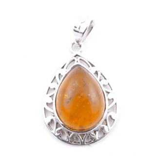 58400-12 STERLING SILVER 27 X 20 MM PENDANT WITH AMBER