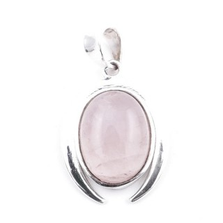 58401-01 STERLING SILVER 29 X 19 MM PENDANT WITH ROSE QUARTZ