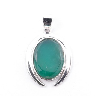 58401-03 STERLING SILVER 29 X 19 MM PENDANT WITH FACETED EMERALD