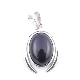 58401-04 STERLING SILVER 29 X 19 MM PENDANT WITH ONYX