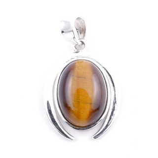 58401-11 STERLING SILVER 29 X 19 MM PENDANT WITH TIGER'S EYE
