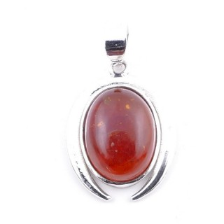 58401-12 STERLING SILVER 29 X 19 MM PENDANT WITH AMBER