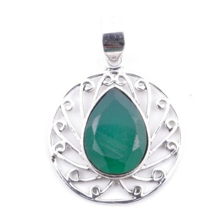 58403-03 STERLING SILVER 23 MM PENDANT WITH FACETED EMERALD
