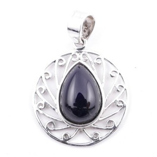 58403-04 STERLING SILVER 23 MM PENDANT WITH ONYX