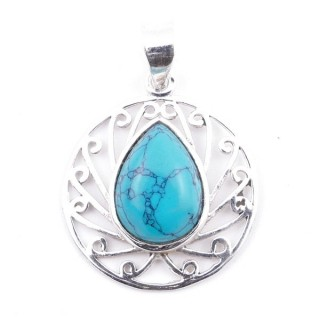 58403-07 STERLING SILVER 23 MM PENDANT WITH TURQUESA