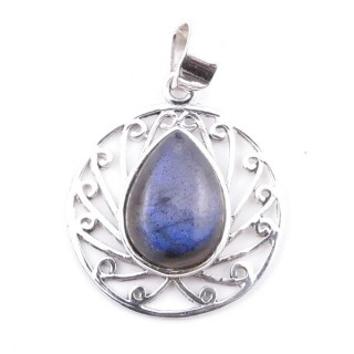 58403-08 STERLING SILVER 23 MM PENDANT WITH LABRADORITE