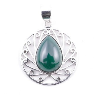 58403-10 STERLING SILVER 23 MM PENDANT WITH MALACHITE