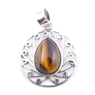 58403-11 STERLING SILVER 23 MM PENDANT WITH TIGER'S EYE