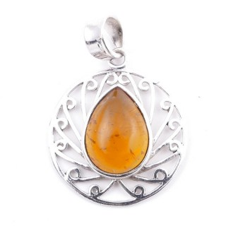 58403-12 STERLING SILVER 23 MM PENDANT WITH AMBER
