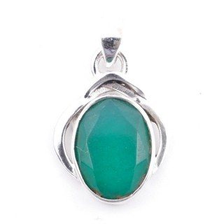 58404-03 STERLING SILVER 27 x 19 MM PENDANT WITH FACETED EMERALD