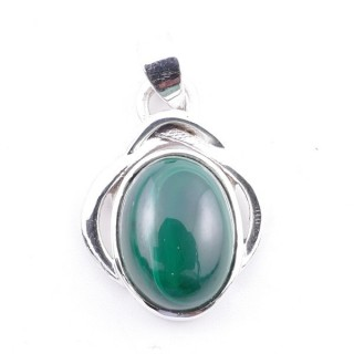 58404-10 STERLING SILVER 27 x 19 MM PENDANT WITH MALACHITE