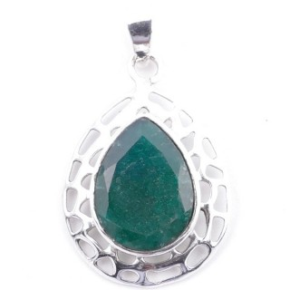 58405-03 STERLING SILVER 30 X 21 MM PENDANT WITH FACETED EMERALD