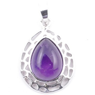 58405-06 STERLING SILVER 30 X 21 MM PENDANT WITH AMETHYST