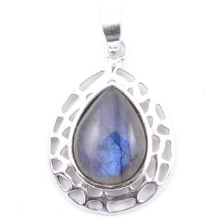 58405-08 STERLING SILVER 30 X 21 MM PENDANT WITH LABRADORITE