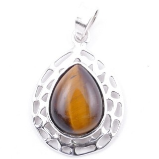 58405-11 STERLING SILVER 30 X 21 MM PENDANT WITH TIGER'S EYE