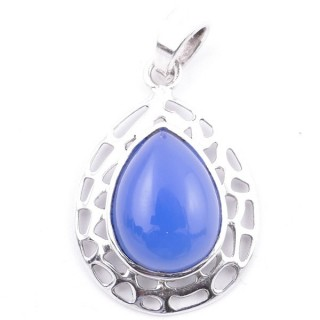 58405-15 STERLING SILVER 30 X 21 MM PENDANT WITH BLUE ONYX