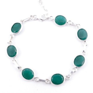 58304-03 STERLING SILVER 16 + 2.50 CM BRACELET WITH FACETED EMERALD