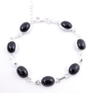 58304-04 STERLING SILVER 16 + 2.50 CM BRACELET WITH ONYX