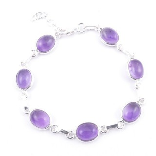 58304-06 STERLING SILVER 16 + 2.50 CM BRACELET WITH AMETHYST