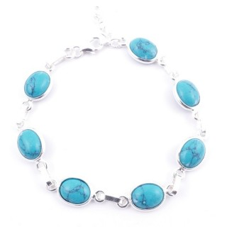 58304-07 STERLING SILVER 16 + 2.50 CM BRACELET WITH TURQUESA