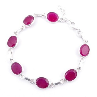 58304-09 STERLING SILVER 16 + 2.50 CM BRACELET WITH FACETED RUBY