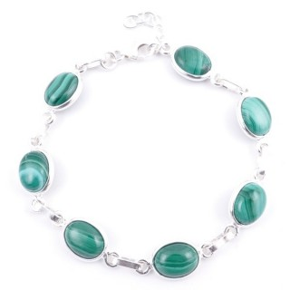 58304-10 STERLING SILVER 16 + 2.50 CM BRACELET WITH MALACHITE