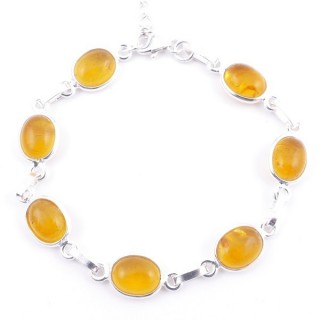 58304-12 STERLING SILVER 16 + 2.50 CM BRACELET WITH AMBER