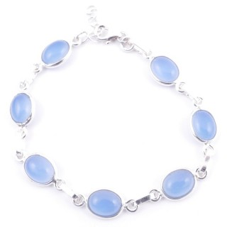 58304-15 STERLING SILVER 16 + 2.50 CM BRACELET WITH BLUE ONYX