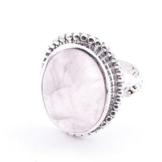 58201-01 ADJUSTABLE 20 X 16 MM SILVER RING WITH STONE IN ROSE QUARTZ