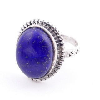 58201-02 ADJUSTABLE 20 X 16 MM SILVER RING WITH STONE IN LAPIS LAZULI