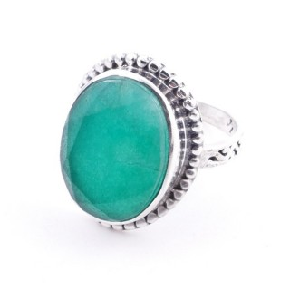 58201-03 ADJUSTABLE 20 X 16 MM SILVER RING WITH STONE IN EMERALD