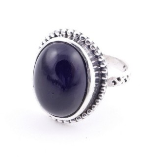 58201-04 ADJUSTABLE 20 X 16 MM SILVER RING WITH STONE IN ONYX