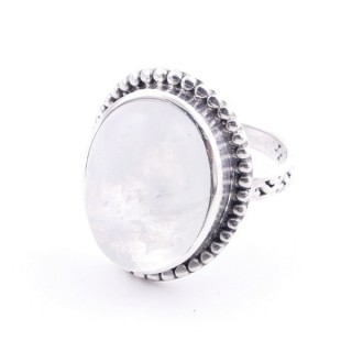 58201-05 ADJUSTABLE 20 X 16 MM SILVER RING WITH MOONSTONE