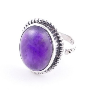 58201-06 ADJUSTABLE 20 X 16 MM SILVER RING WITH STONE IN AMETHYST