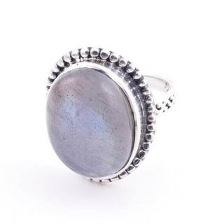 58201-08 ADJUSTABLE 20 X 16 MM SILVER RING WITH STONE IN LABRADORITE
