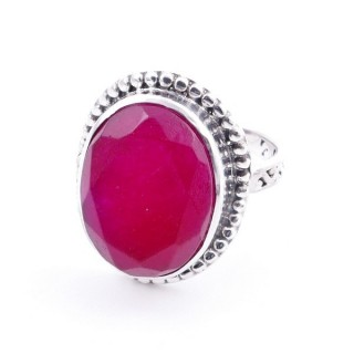 58201-09 ADJUSTABLE 20 X 16 MM SILVER RING WITH STONE IN RUBY
