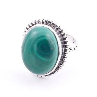 58201-10 ADJUSTABLE 20 X 16 MM SILVER RING WITH STONE IN MALACHITE